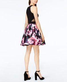 Xscape Floral-Print Fit & Flare Dress - Black 14
