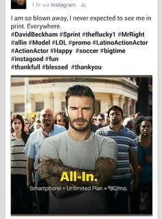 SPRINT AD CAMPAIGN '15 w/JOE O. (left solid blue shirt ) & DAVID BECKHAM