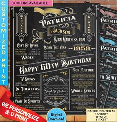 Gold Birthday, 60th Birthday, In The Year 2525, Birthday Chalkboard, Great Birthday Gifts, Chalkboard Signs, Party Photos, Vintage Posters, Poster Size Prints