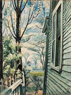 Charles Burchfield, House Corner in Spring, 1942 Watercolor and charcoal on paper laid down on board on ArtStack #charles-burchfield #art