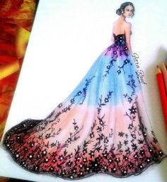 I am absolutely loving the ombré effect with the black roses! The maroon goes so well! Dress Design Drawing, Dress Design Sketches, Fashion Design Sketchbook, Fashion Design Drawings, Dress Drawing, Fashion Sketches, Dress Illustration, Fashion Illustration Dresses, Fashion Drawing Dresses