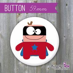"""""""Superheld"""" Button ♥ 59 mm von Kuschelich auf DaWanda.com"""