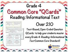 Grade 4 CCSS Reading: Informational Text Common Core Question Stems in task card format!  Over 210!