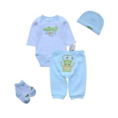 Green Crocodille Set Baby Bodysuit