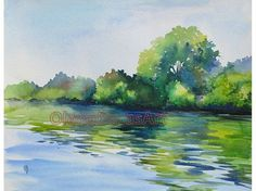 """Reflection Watercolor ORIGINAL Painting Landscape 11""""x14"""" by Olena Baca SALE on Etsy, $40.40 AUD"""