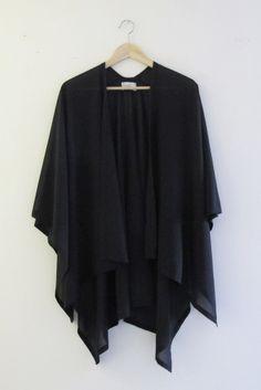Elegant Black Silk Kimono Shawl
