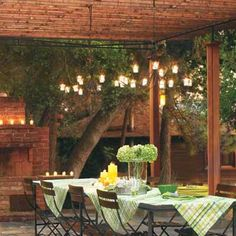 Put a Roof On It: Protected Pergola    Make your own wood-and-metal pergola with a tightly spaced slat roof to diffuse sunlight during the day and provide a place to hang candlelit chandeliers for nighttime dining. Here, a roof and posts made of stained 1x4 pressure-treated pine surround a sturdy metal pipe frame.