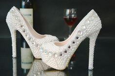 Handmade Pearl Diamond Bridal Wedding Shoes High Heel Platform Beige Thin Heel…