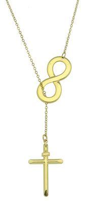 Gargantilha folheada a ouro c/ o símbolo do infinito e crucifixo-Clique para maiores detalhes