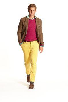 Ralph Lauren Fall 2015 Menswear Fashion Show - Polo Fashion Show, Mens Fashion, Fashion Outfits, Fashion Design, Mens Yellow Pants, Fall 2015, Dapper, Polo Ralph Lauren, Vogue