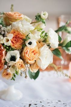Incorporating anenomies with peach! Peach and Emerald Wedding Ideas