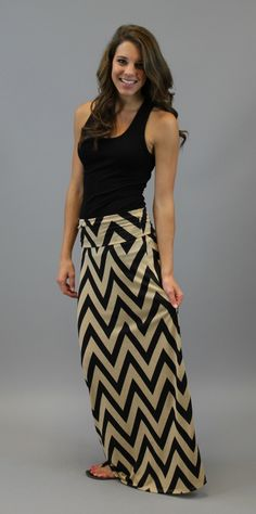 Shes Chevron Maxi Skirt - Black $32