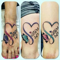 Best sister matching tattoo designs and ideas which are meaningful. Sibling tattoos designs and ideas, Small sister tattoos and ideas, unique tattoo ideas, Three Sister Tattoos, Cute Sister Tattoos, Sister Tattoo Designs, Sibling Tattoos, Matching Sister Tattoos, Bff Tattoos, Infinity Tattoos, Family Tattoos, Tattoos For Daughters