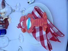 Lobster party place settings.