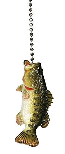 Large Mouth Bass Fishing Lodge Ceiling Fan Pull Light Chain: Gifts for Fish Lovers Hunter Douglas, Boys Fishing Bedroom, Kids Bedroom, Ceiling Fan Pulls, Ceiling Fans, Light Chain, Light Pull, Largemouth Bass, Lodge Decor
