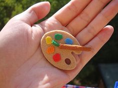 color palette felt brooch  =do as ornament for favorite artist in family - put name & year on back