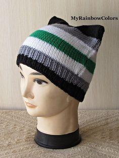 9d80d19275f Agender Pride Hat Agender Pussyhat Agender Cat Hat Knit