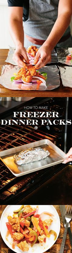 How to Make a Chicken Fajita Freezer Dinner Packets Recipe. Freezer meals like this foil packets one are great for new moms, families, or if you're cooking for just one or two. It's hard to beat a freezer full of make ahead dinner options! This one is baked in the oven, and features chicken, peppers, and onions. It's a real crowd pleaser, and budget friendly too!