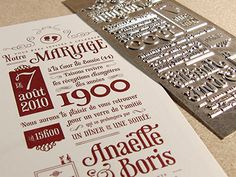 Invitation photographed with #letterpress plate