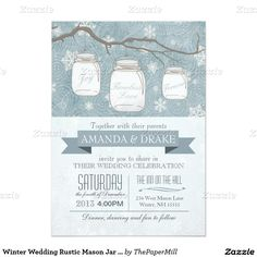 Winter Wedding Rustic Mason Jar and Snowflakes 5x7 Paper Invitation Card