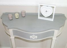 Shabby Chic half moon console table Painted in Annie Sloan Original White and Paris Grey shades, finished with a clear wax (Restored furniture)