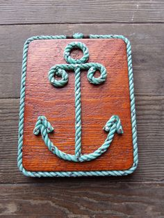 Nautical Decor Rope Anchor on Reclaimed Wood by AlaskaRugCompany
