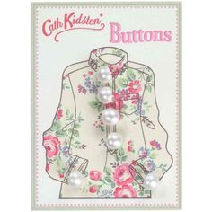 Boutons perles blanches nacrées sur carton imprimé