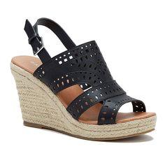 Rampage Harper Women's Wedge Sandals, Girl's, Size: medium (7), Black