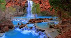Havasu Falls, Supai, Arizona, United StatesAZ106 Panoramic Images, Electronic Media, Cover Pages, Photo Library, Supai Arizona, Waterfall, United States, The Unit, Stock Photos