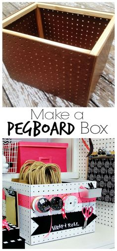 Looking for an easy idea for a gift wrap container? Here's how to make a peg board box. Keep all your gift wrap supplies organized in a peg board box.