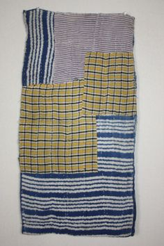 Japanese  old boro Indigo dye  Stripes & check  Patched sashiko Stitch  rag