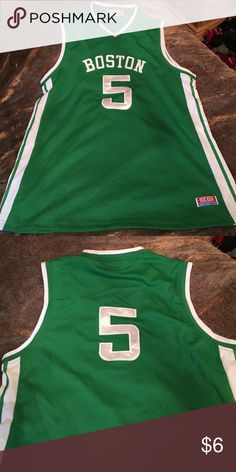 """Unauthentic Boston Celtics Jersey This is an unauthentic product. Boston """"Celtics"""" Jersey #5. There is no size but the shirt is very big. Assume it's a L/XL. Never worn. Comment with any questions and please feel free to make an offer! 💚 Shirts"""