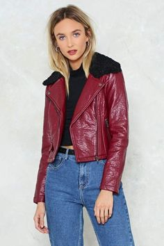 nastygal Cold Snap Vegan Leather Moto Jacket