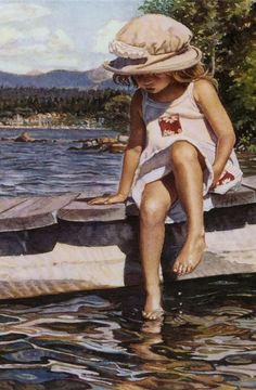 This water color piece is by Steve Hanks. An absolutely beautiful work of art that I relate to. This little girl reminds me of me...sitting on the pier and dipping my feet into the bayou when I was about 5 or 6 years old.  I'm in love with it.