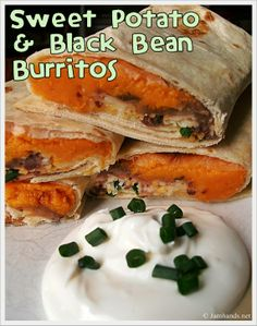 Sweet potato and black bean burritos.  Something about this combo sounds amazing.  Throw them in a whole wheat tortilla and sub in greek yogurt for the sour cream, and this could be a great power lunch.