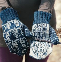 O.W.L. Mittens by Celeste Young. Knitting pattern for those Harry Potter fans who want spells on their palms.