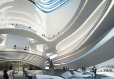 Image 1 of 8 from gallery of Changsha Meixihu International Culture and Art Centre / Zaha Hadid Architects. Photograph by Zaha Hadid Architects Zaha Hadid Interior, Zaha Hadid Architecture, Zaha Hadid Buildings, Futuristic Architecture, Interior Architecture, Futuristic Art, Office Buildings, Chinese Architecture, Spa Interior