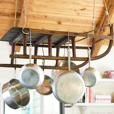 DIY Pot Rack Ideas: How clever to turn a vintage sled into a pot rack!   How cool would that be for a cabin kitchen?