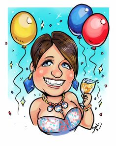 A fun portrait caricature with a birthday theme!