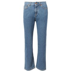 Fiorucci Yves Slim Crop Jeans (14.395 RUB) ❤ liked on Polyvore featuring jeans, slim cut jeans, blue slim fit jeans, slim jeans, slim blue jeans and slim fit jeans