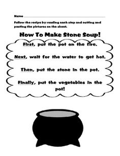 FREE Stone Soup Read, Cut and Paste. Nice sequencing activity for ELL students. Re-pinned by @Laurie Moulton (Elementary ESL).