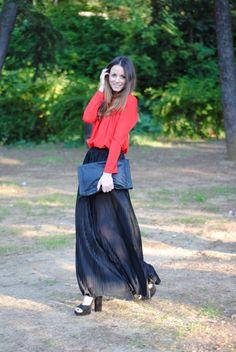 long skirt and heels