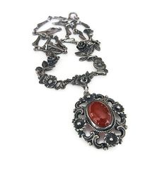 Peruzzi Necklace Sterling Silver Carnelian by zephyrvintage
