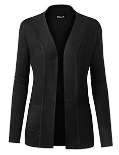 Because I Love You Women Open Front Long Sleeve Classic Knit Cardigan at  Amazon Women s Clothing store  Long Black SweaterBlack ... 4c2a8602c