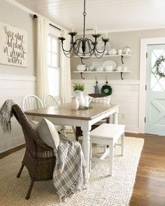 Modern Farmhouse Dining Room Decor Concepts that will certainly motivate you. - These welcoming, wide-open rooms use a sense of peace and calmness that you can not get with most modern styles. Dining Room Shelves, Dining Room Wall Decor, Dining Room Design, Dining Area, Wall Shelves, Dining Tables, Farm Tables, Lounge Decor, Carpet In Dining Room
