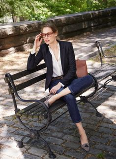 Crew women's Campbell blazer in pinstripe, silk pocket blouse, Billie demi-boot crop jean in Koby wash, leopard-printed calf hair belt and Avery heels in tweed. Office Outfits Women, Fall Outfits For Work, Preppy Mode, Preppy Style, Outfits 2016, Stylish Outfits, Office Fashion, Work Fashion, Gothic Fashion