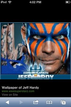 Jeff Hardy-My favorite poster of him, i have hanging in the computer room Jeff Hardy Face Paint, Best Wwe Wrestlers, Viking Makeup, Hardy Brothers, Wwe Jeff Hardy, The Hardy Boyz, Warrior Paint, Wrestling Stars, Wwe Tna