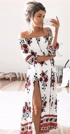 Long sleeved off the shoulder bohemian rose printed casual open slit summer maxi dress Details - Polyester, Acetate, Spandex - Broadcloth - Imported - Delicate Cold Wash - Fits True To Size