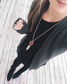 Evergreen grandpa cardigan for the 1st day of #decemberwearwhatwhere!  New obsessions: These Rebecca Minkoff black wedge booties & this Kendra Scott burgundy Rayne necklace from my latest @Rocksbox!  (use code 'taymbrownxoxo' for your first box free!) Happy Friday-eve!     Shop my look: http://liketk.it/2pKKD @liketoknow.it #liketkit