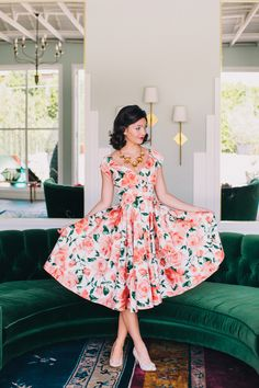 pretty floral garden party dress | Photo by Fondly Forever
